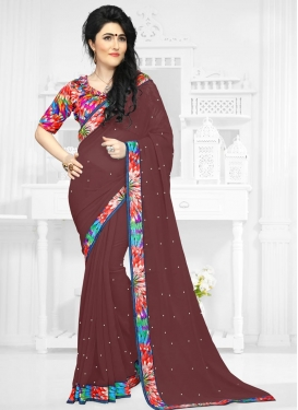 Artistic Faux Georgette Digital Print Work Contemporary Style Saree
