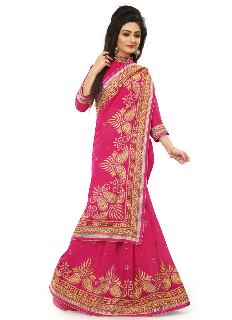 Artistic Lace Work Rose Pink Color Party Wear Saree