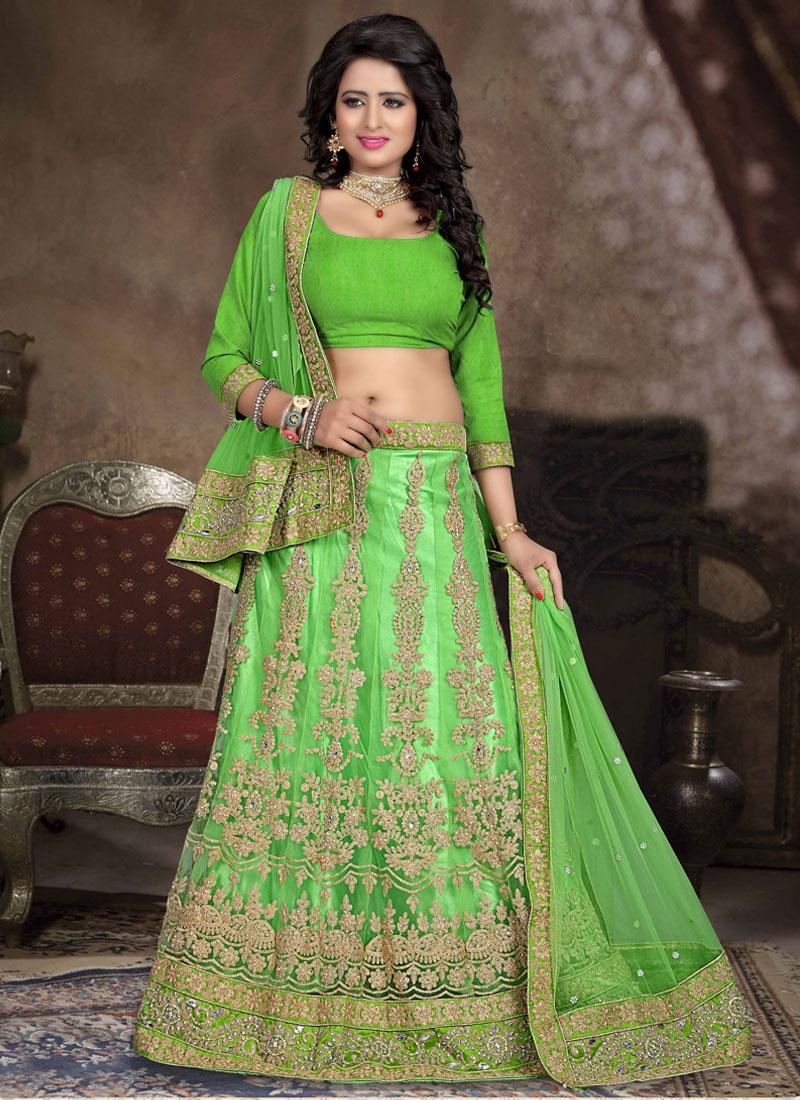 Artistic Mint Green Color Stone Work Bridal Lehenga Choli