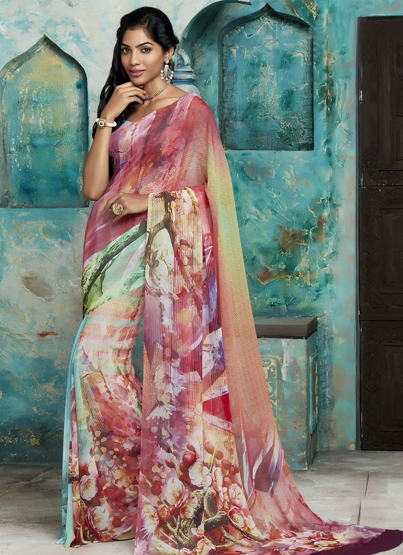 Artistic Multi Color Faux Georgette Casual Saree