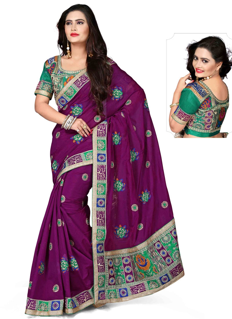Artistic Patch Border And Booti Work Designer Saree