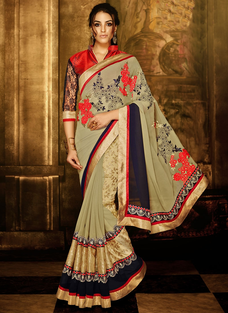 Artistic Patch Border Work Beige Color Party Wear Saree