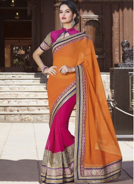 Artistic Patch Border Work Party Wear Saree