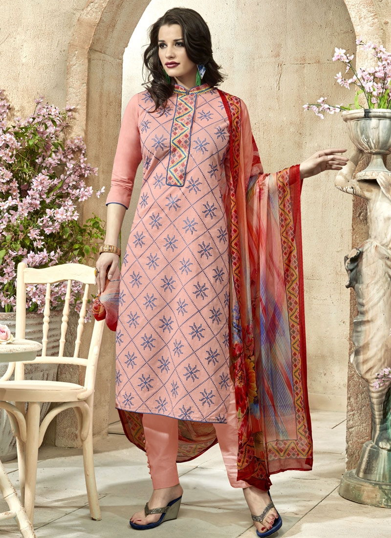 Artistic Resham Work Salmon Color Pant Style Party Wear Suit