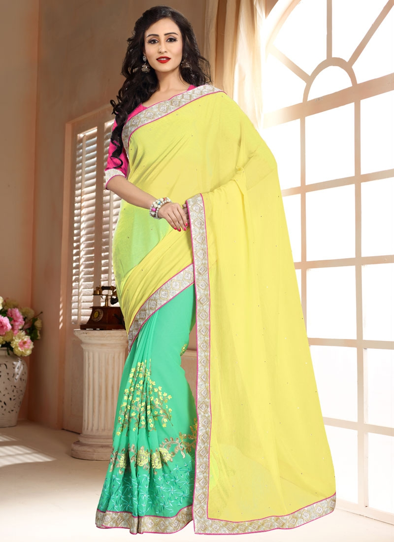 Artistic Stone Work Yellow Color Half N Half Party Wear Saree