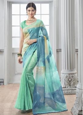 Aspiring Aqua Blue and Beige Digital Print Work Art Silk Traditional Saree For Casual