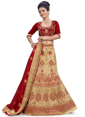 Aspiring Beige and Maroon Booti Work Silk Trendy Designer Lehenga Choli