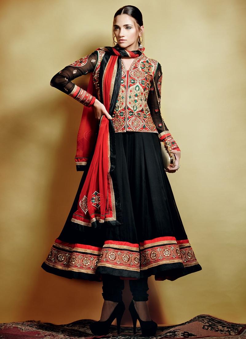 Aspiring Black Color Anarkali Salwar Kameez