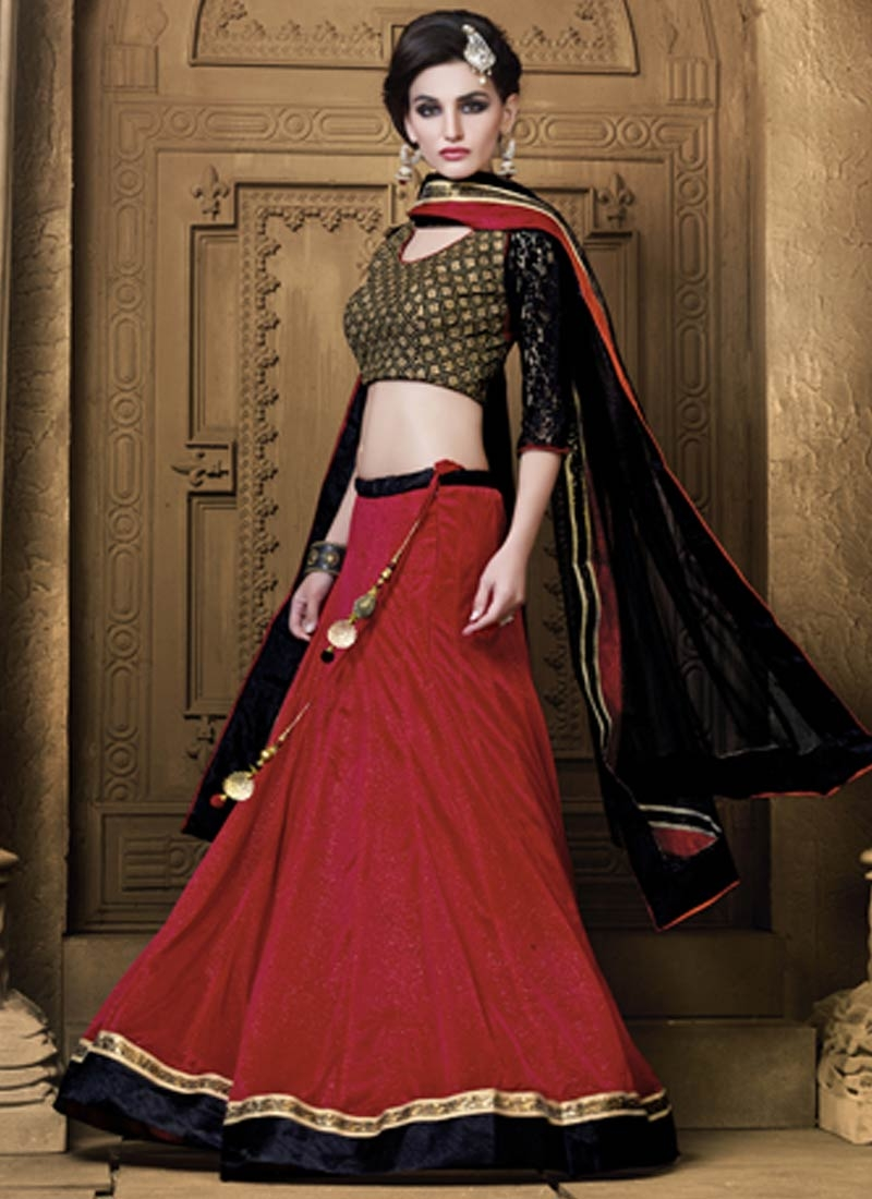 Aspiring Crimson And Black Color Party Wear Lehenga Choli