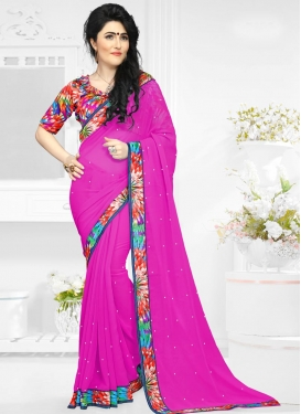 Aspiring Digital Print Work Faux Georgette Contemporary Style Saree