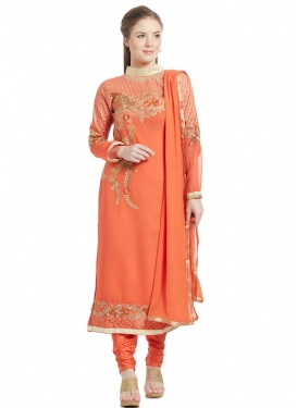 Aspiring Faux Georgette Trendy Churidar Salwar Kameez For Ceremonial