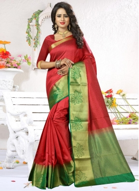 Aspiring Green and Red Classic Saree