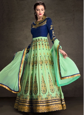 Aspiring Mint Green Booti Work Floor Length Anarkali Suit