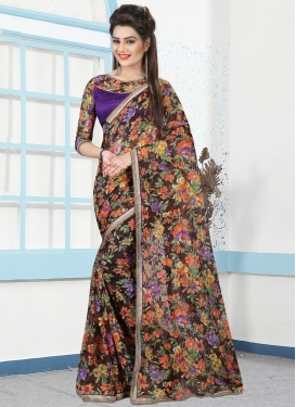 Aspiring Net Beads Work Traditional Saree