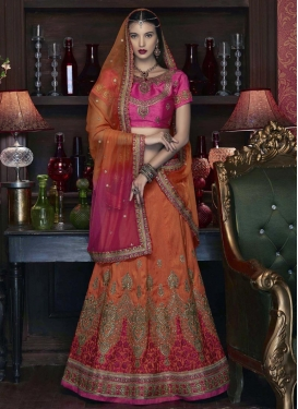 Aspiring Orange and Rose Pink Embroidered Work A Line Lehenga Choli