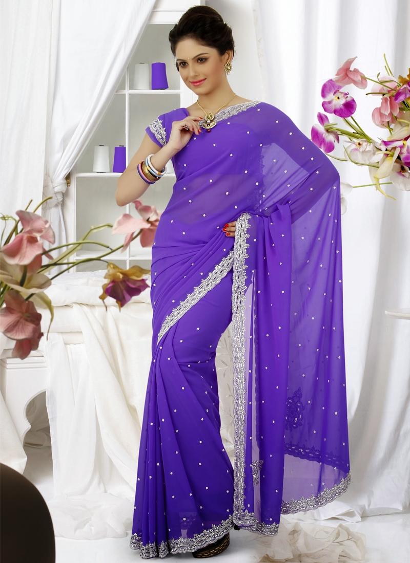 Aspiring Purple Color Party Wear Saree