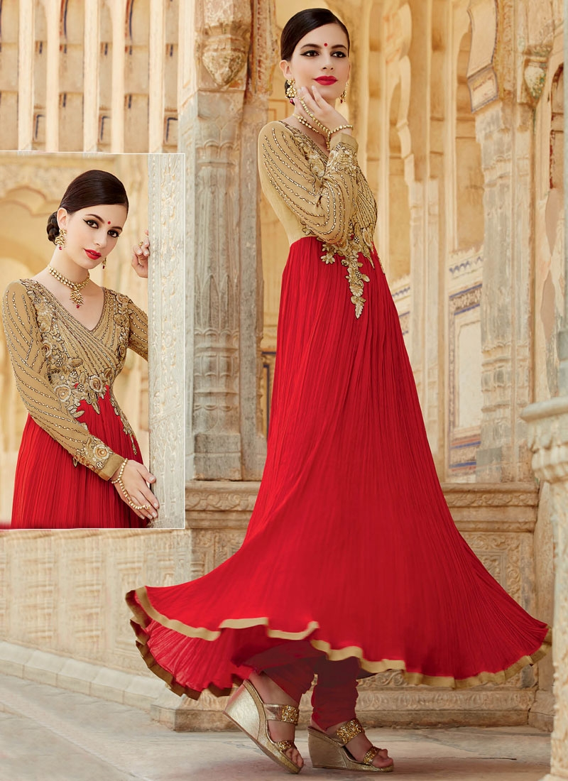 Aspiring Red And Beige Color Designer Salwar Kameez