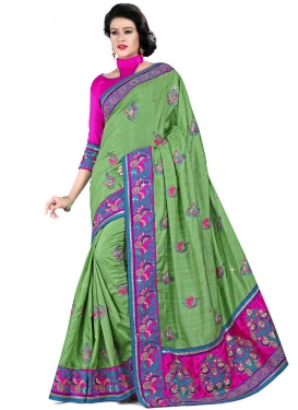 Aspiring Resham And Patch Border Work Designer Saree