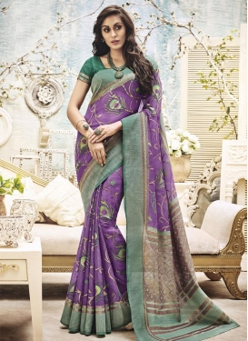 Aspiring Resham Work Art Silk Sea Green and Violet Traditional Saree For Ceremonial