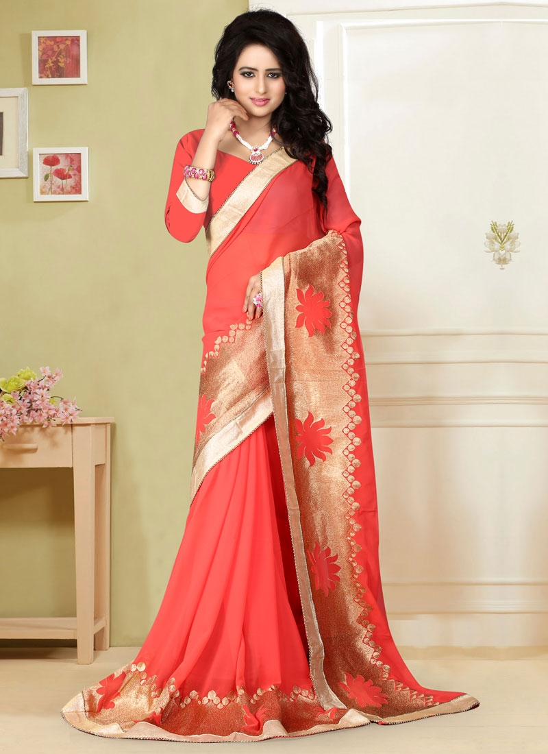 Aspiring Resham Work Faux Georgette Party Wear Saree