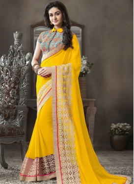 Aspiring Yellow Color Resham Enhanced Party Wear Saree