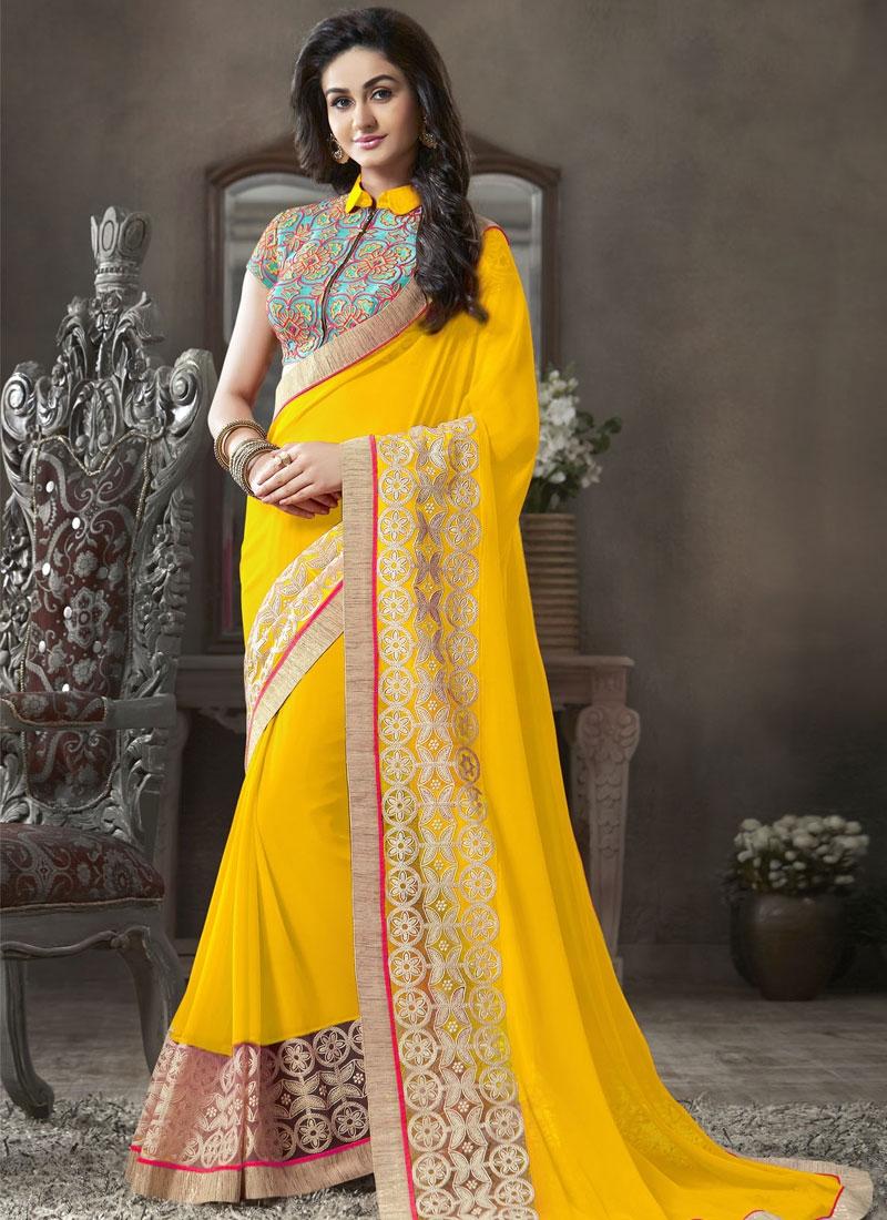 Aspiring Yellow Color Resham Enhanced Party Wear Saree