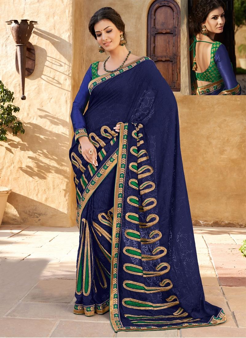 Astonishing Aari Work Georgette Party Wear Saree