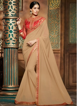 Astonishing Beige and Red Bamberg Georgette Designer Contemporary Saree