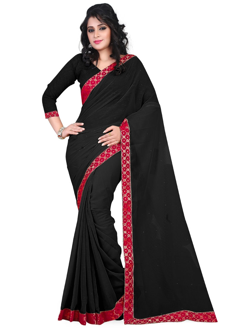 Astonishing Black Color Lace Work Casual Saree
