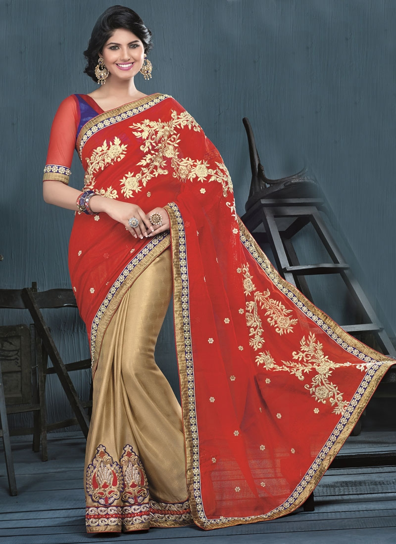 Astonishing Booti And Beads Work Half N Half Party Wear Saree