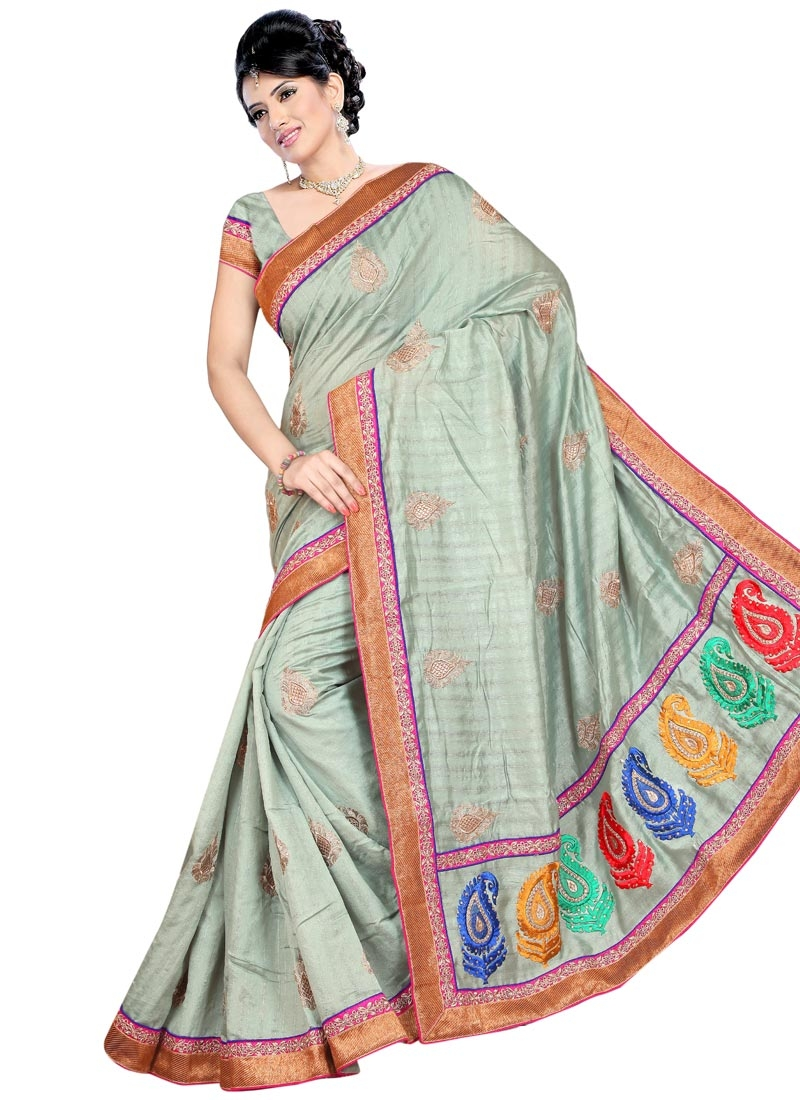 Astonishing Booti Work Bhagalpuri Silk Party Wear Saree