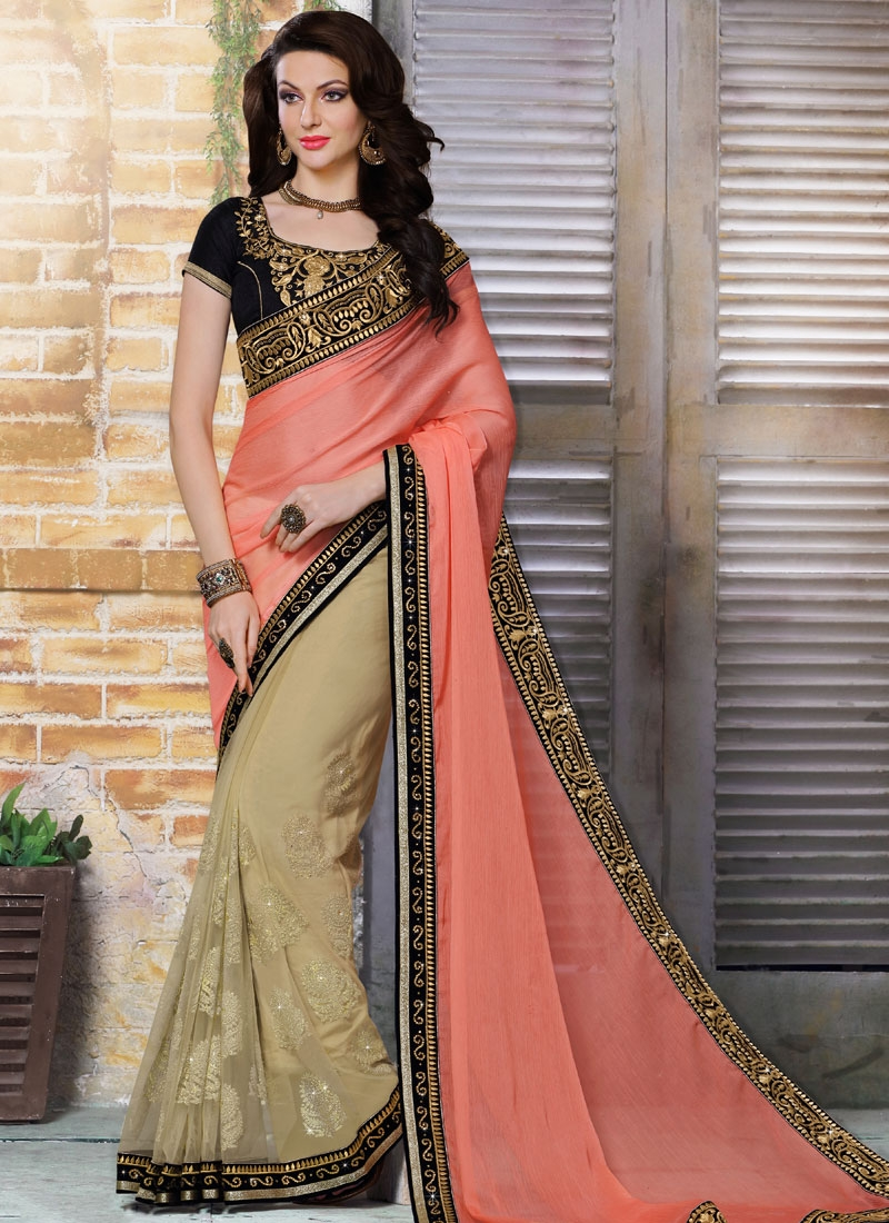 Astonishing Booti Work Faux Chiffon Half N Half Designer Saree