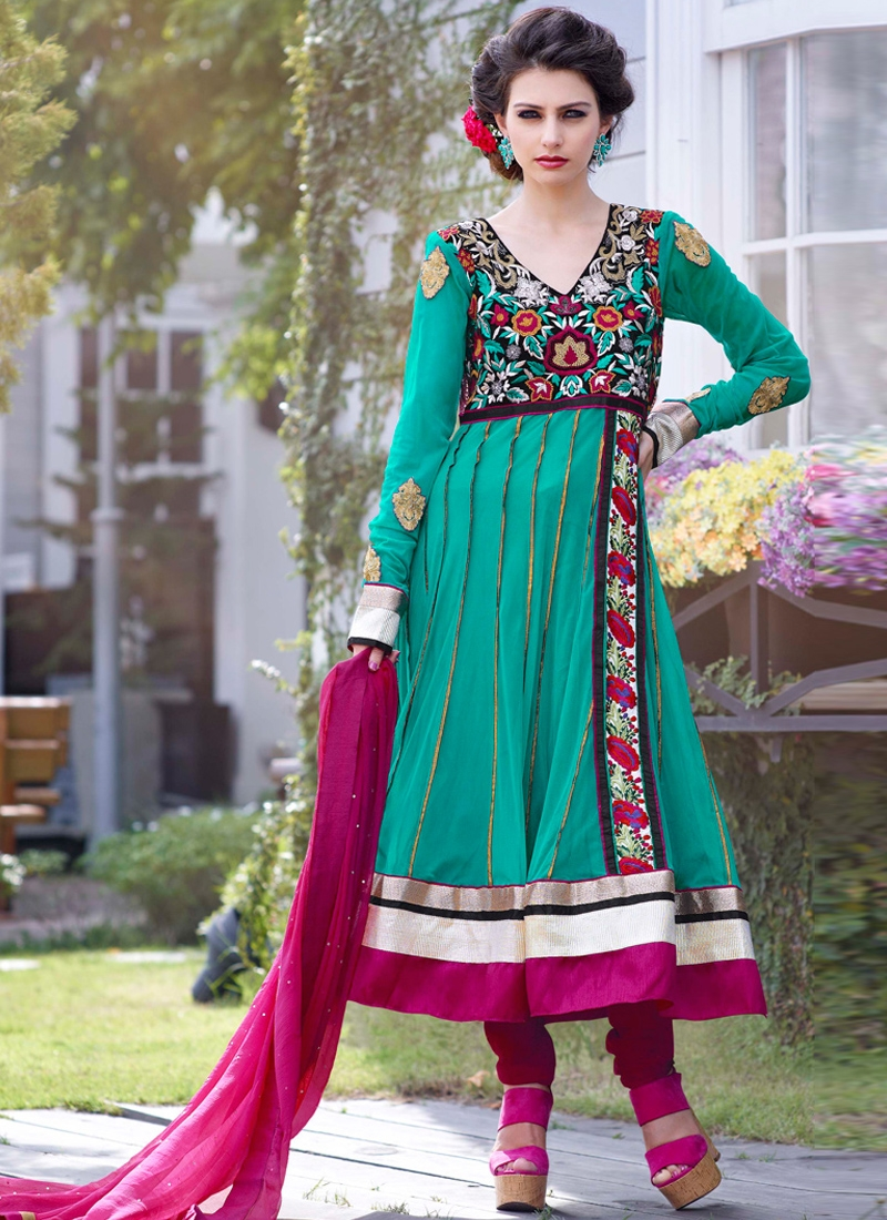 Astonishing Floral Patch Party Wear Suit