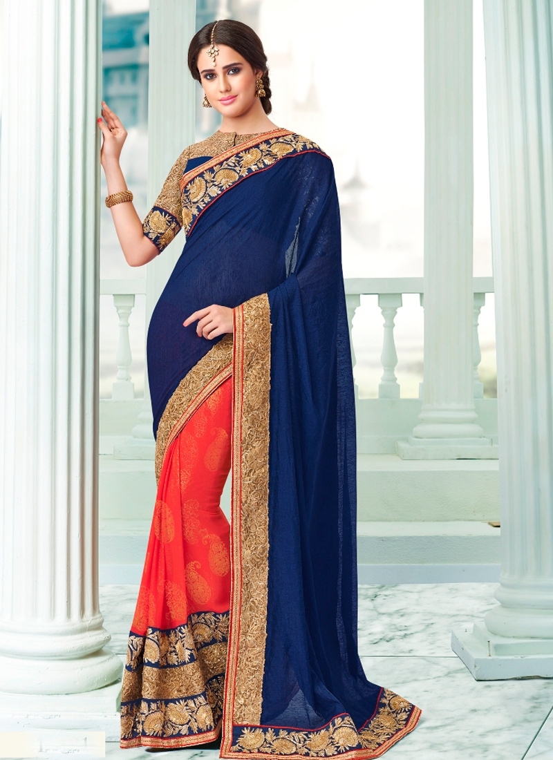 Astonishing Patch Border Work Half H Half Wedding Saree