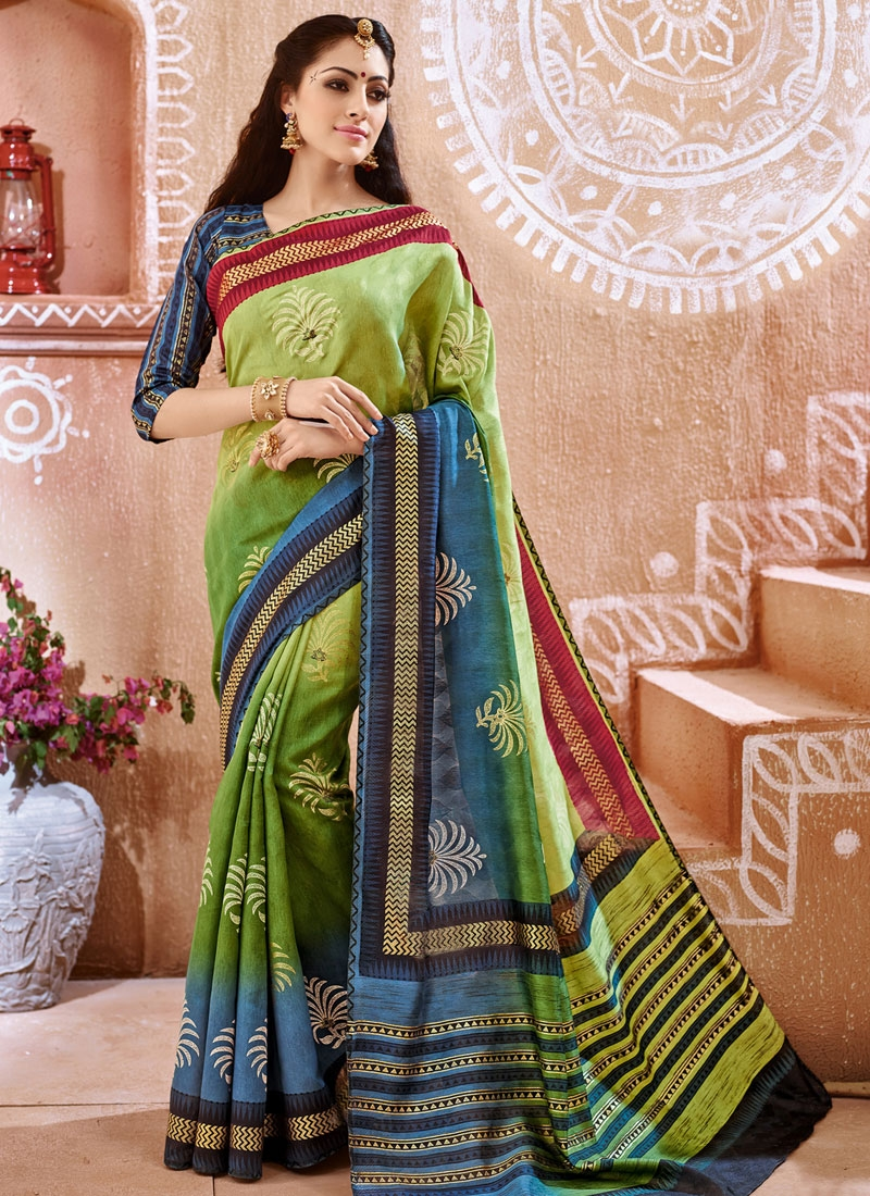 Astonishing Printed Olive Color Casual Saree
