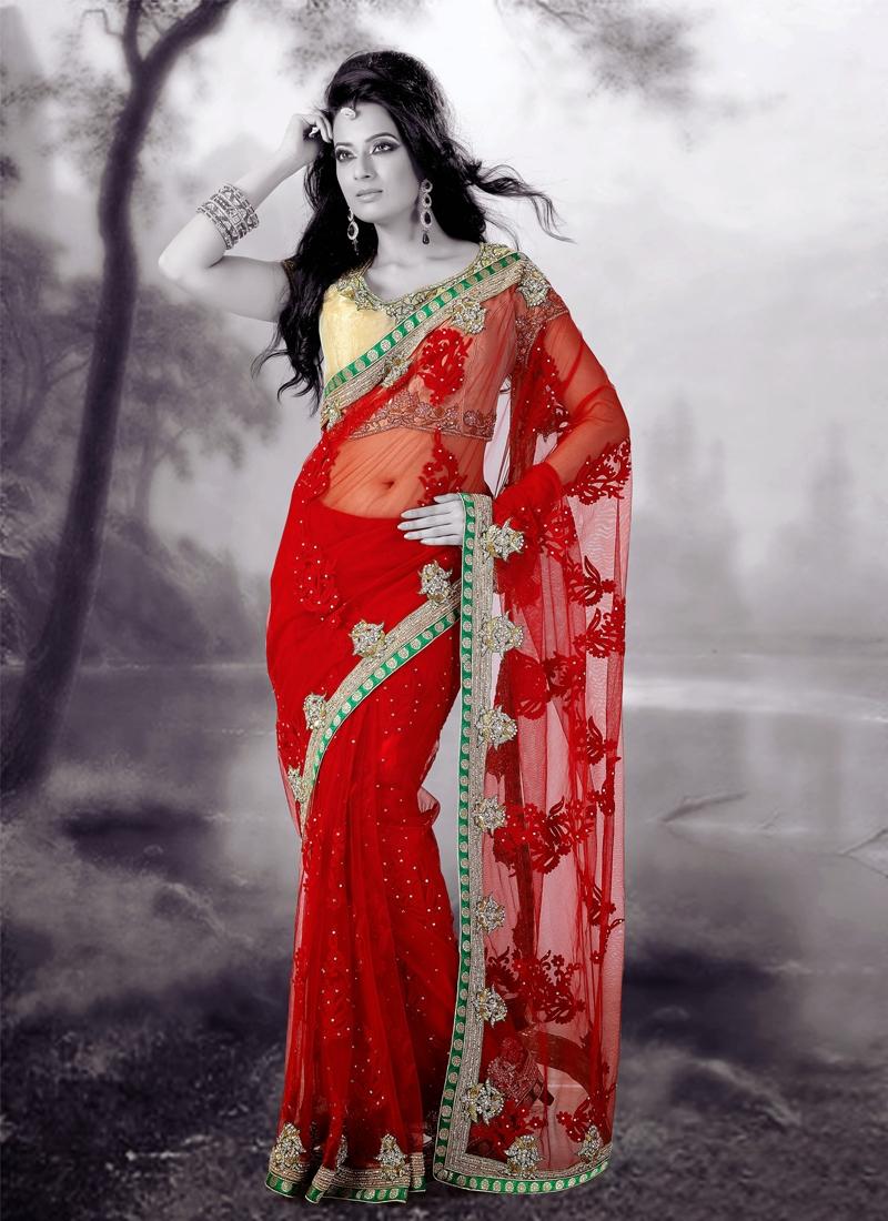 Astonishing Resham And Aari Work Bridal Saree