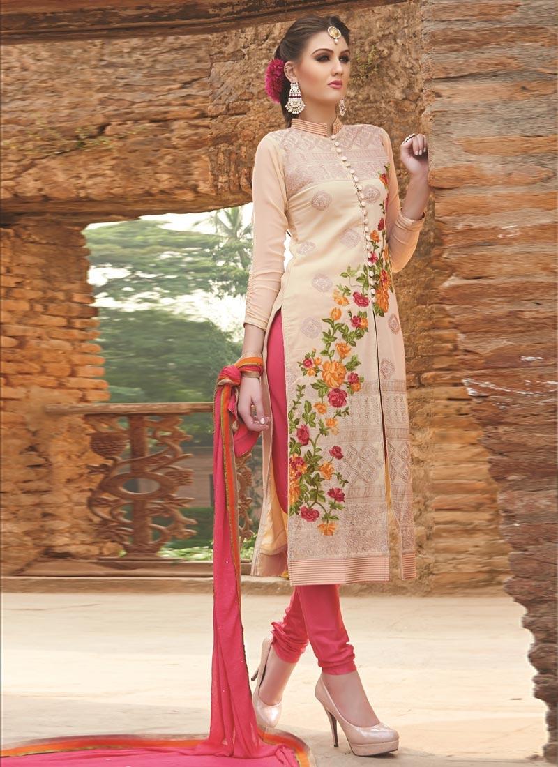 Astonishing Resham Work Beige Color Designer Suit