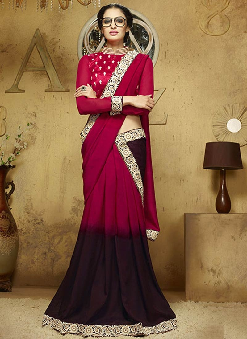 Astonishing Resham Work Coffee Brown Color Party Wear Saree