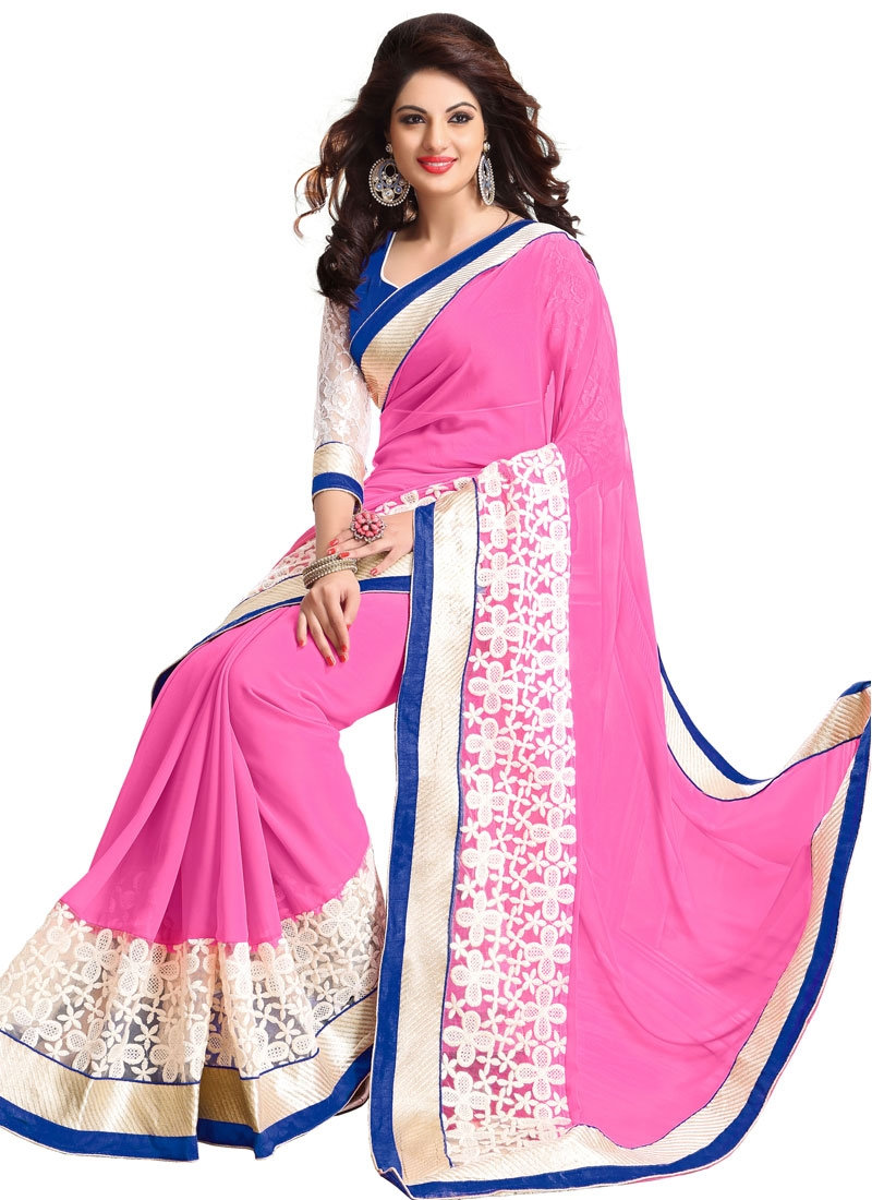 Astonishing Resham Work Hot Pink Color Casual Saree