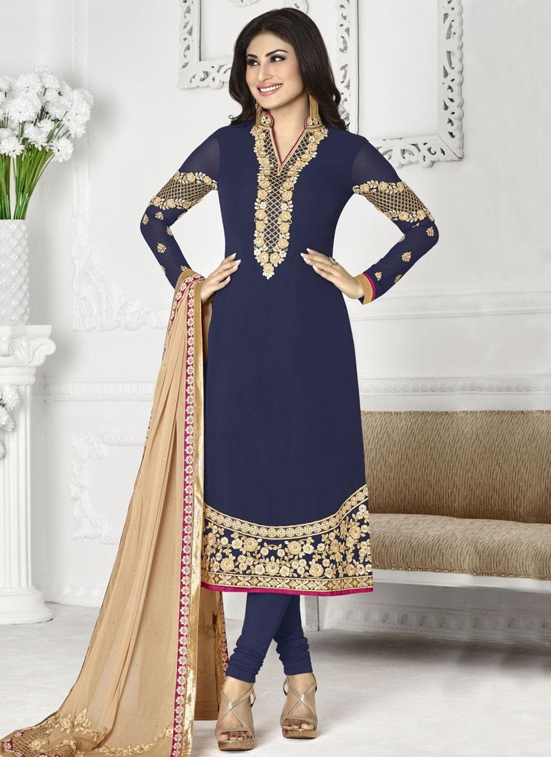 Astonishing Resham Work Mouni Roy Party Wear Salwar Suit