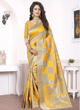 Astonishing Silk Beige and Mustard Thread Work Contemporary Saree