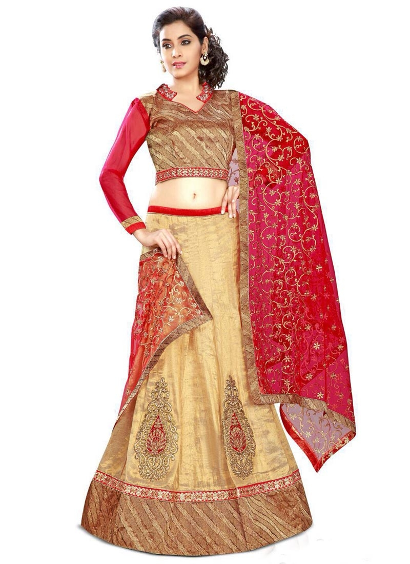 Astonishing Silk Cream Color Booti Work Designer Lehenga Choli