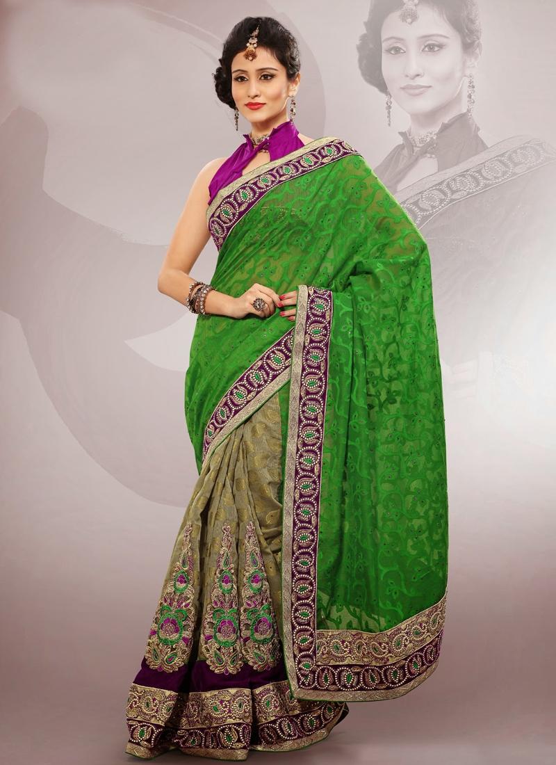 Astonishing Velvet Enhanced Half N Half Saree