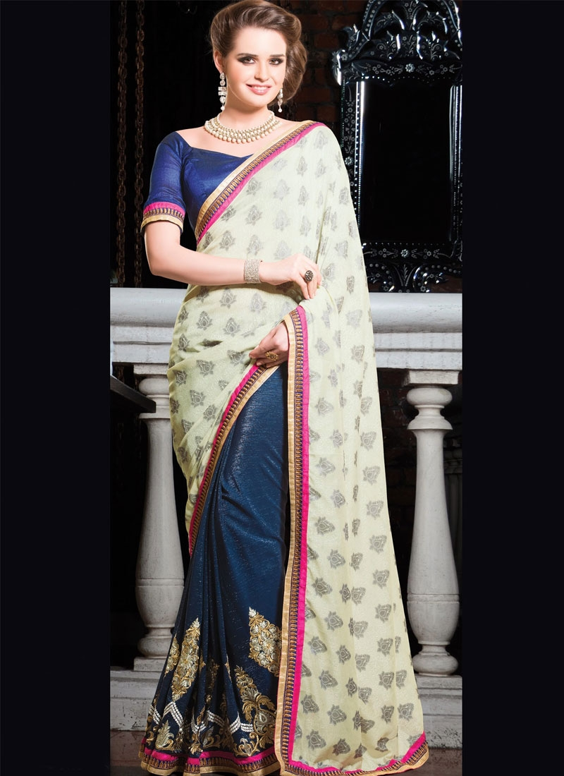 Astounding Aari And Resham Work Half N Half Designer Saree