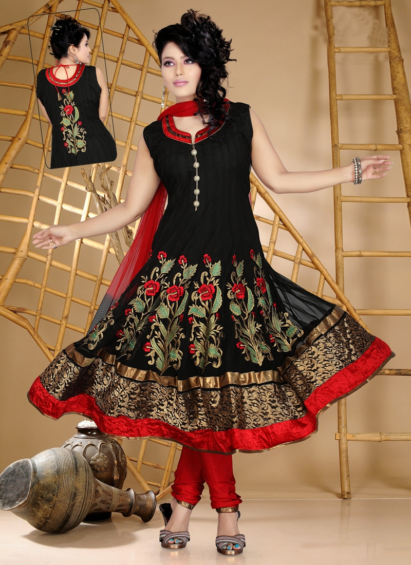 Astounding Black Color Net Readymade Anarkali Suit