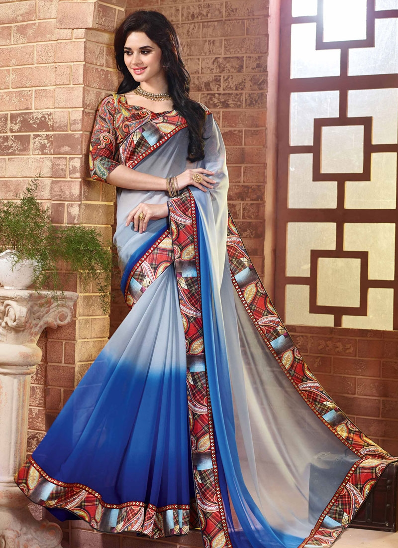 Astounding Blue And Silver Color Party Wear Saree