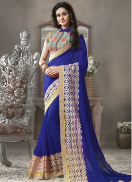Astounding Blue Color Resham Work Party Wear Saree