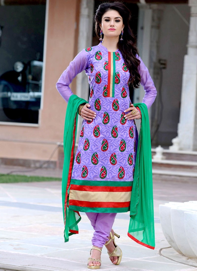 Astounding Chanderi And Cotton Churidar Suit