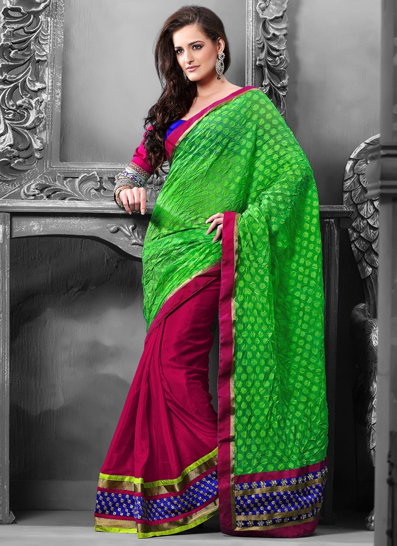 Astounding Chiffon And Satin Half N Half Saree