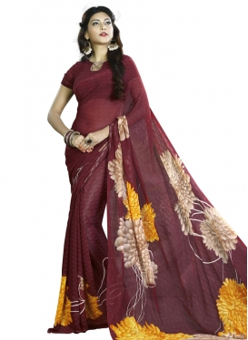 Astounding Faux Georgette Digital Print Work Contemporary Style Saree
